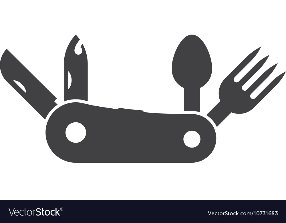 Folding tourist knife outline icon vector