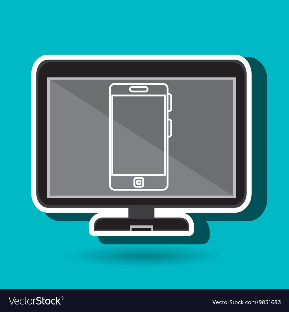 Laptop with smartphone blue isolated icon design vector