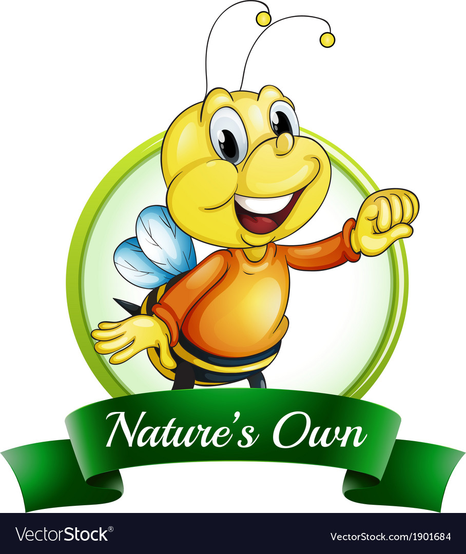 A natures own label with a smiling bee vector
