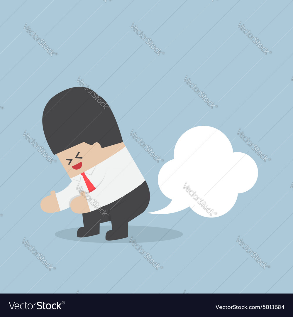 Businessman farting with blank balloon out from hi vector