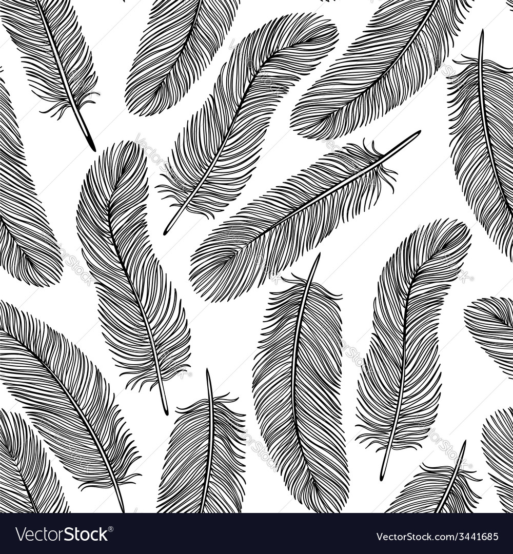 Blackandwhite feather seamless background vector