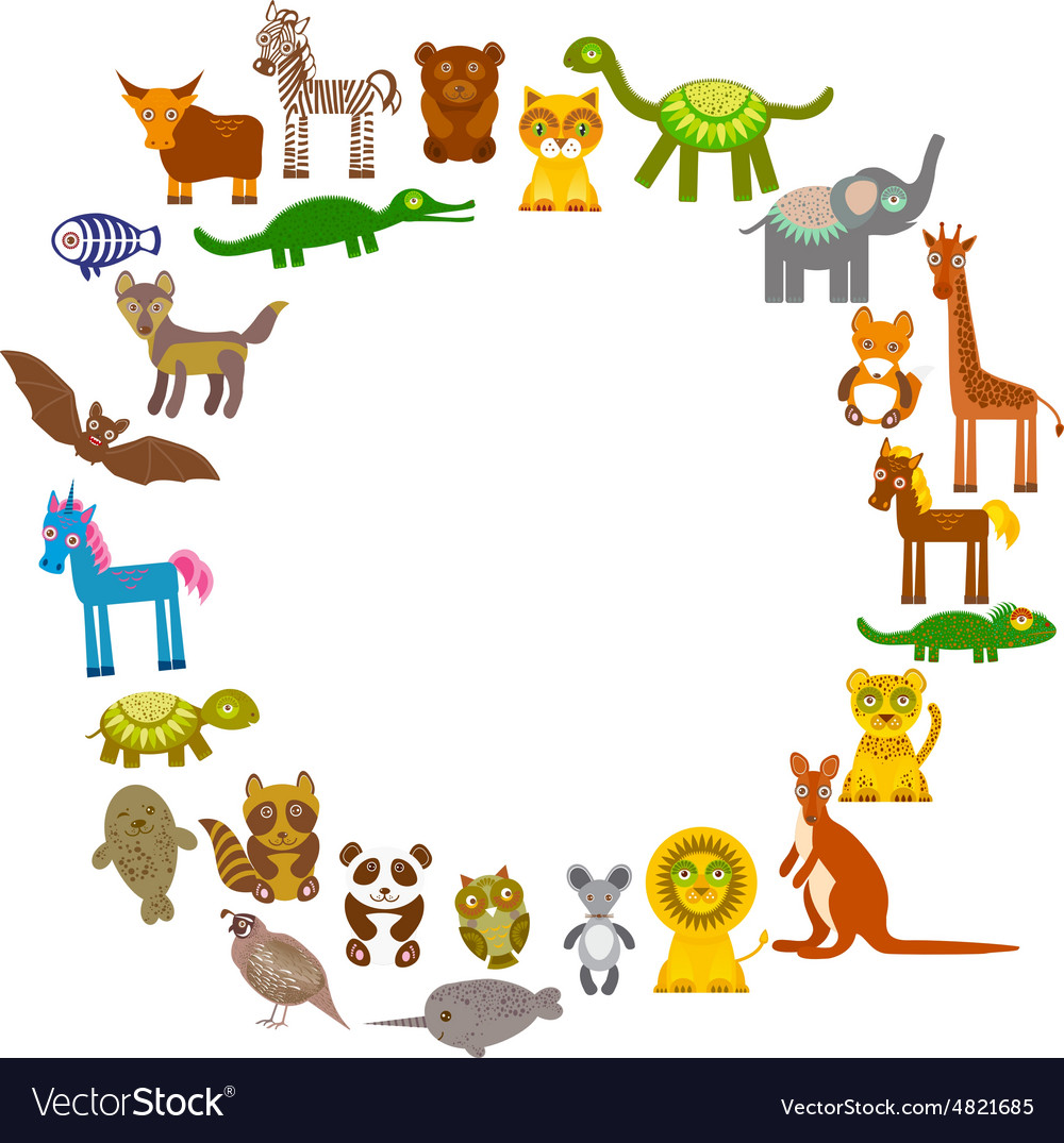 Collection funny cartoon animals card template vector