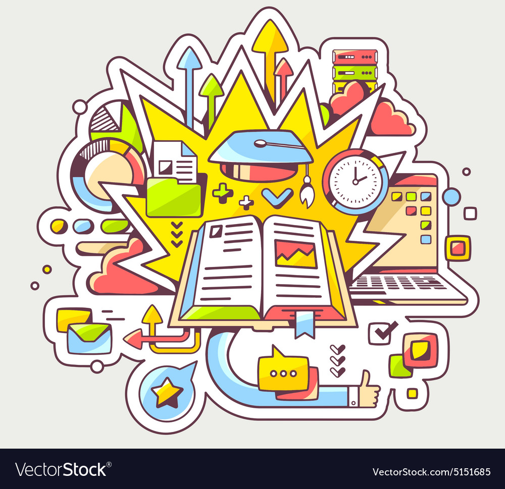 Colorful of education with open book and gra vector