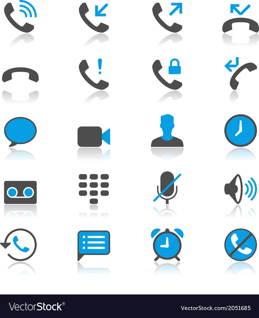 Telephone flat with reflection icons vector