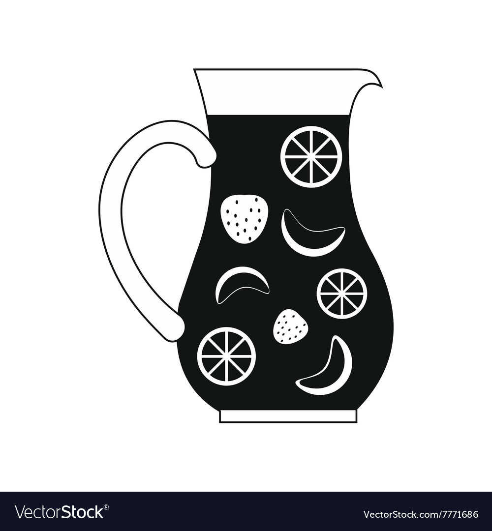 Jar and glass of fresh sangria icon simple style vector