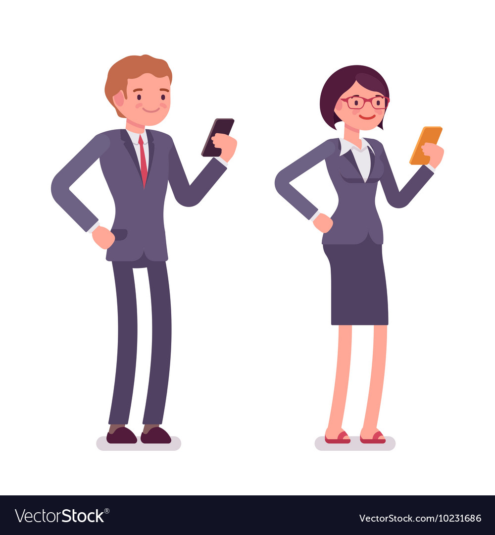 Office workers standing with smartphones vector