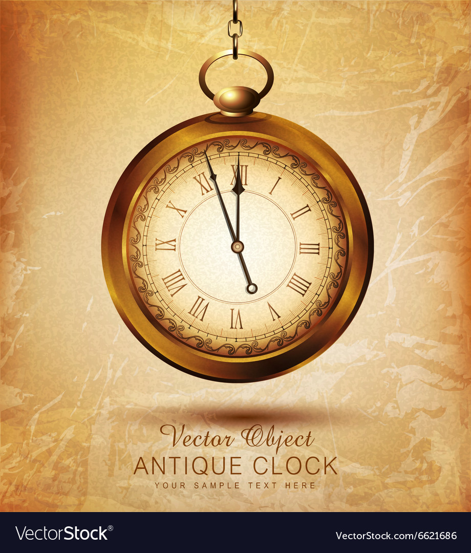 Vintage pocket watch on an old grunge background vector