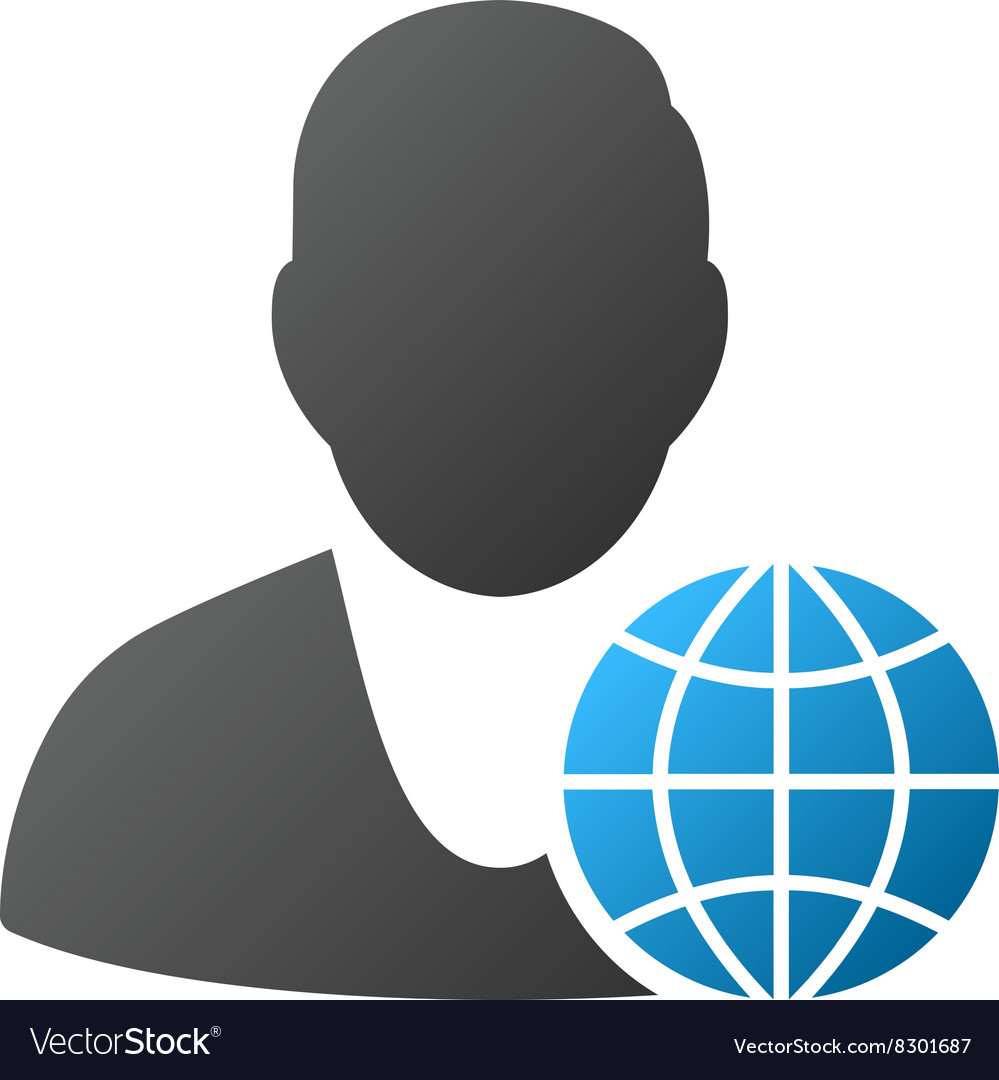 Global manager gradient icon vector