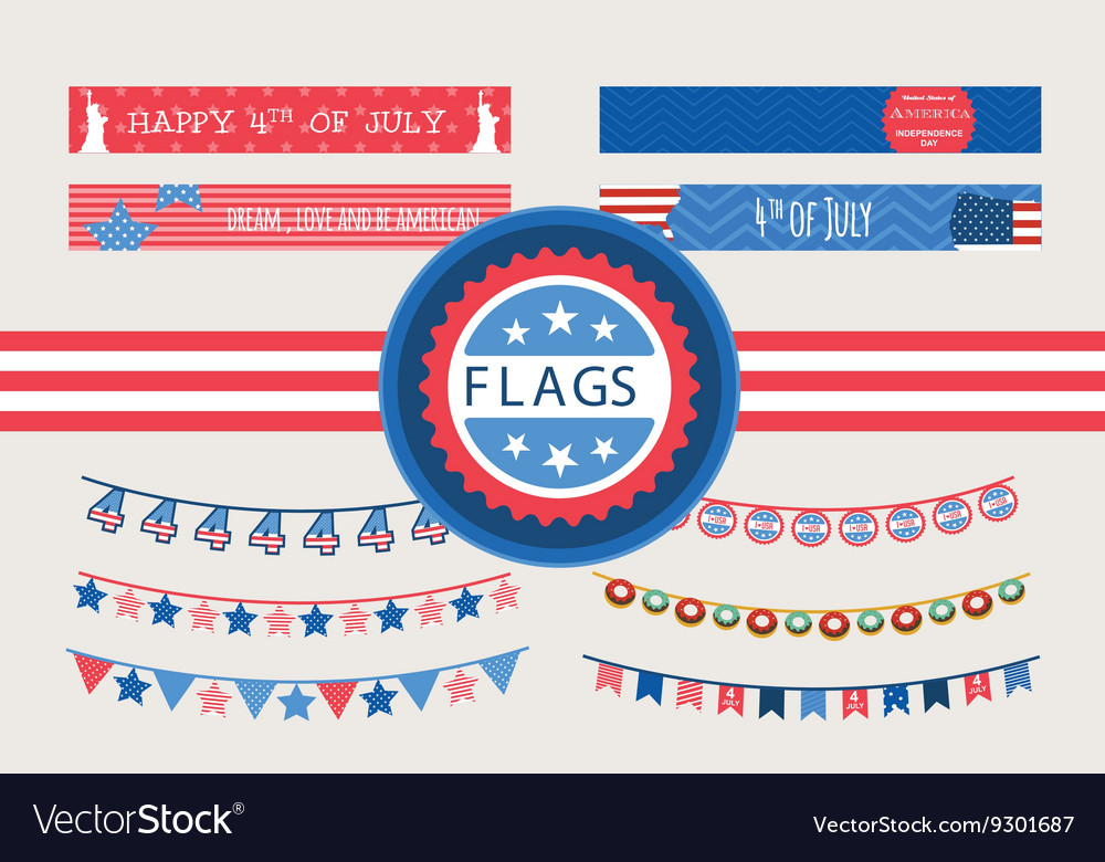 Patriotic bunting flags and straw flags 4th of vector