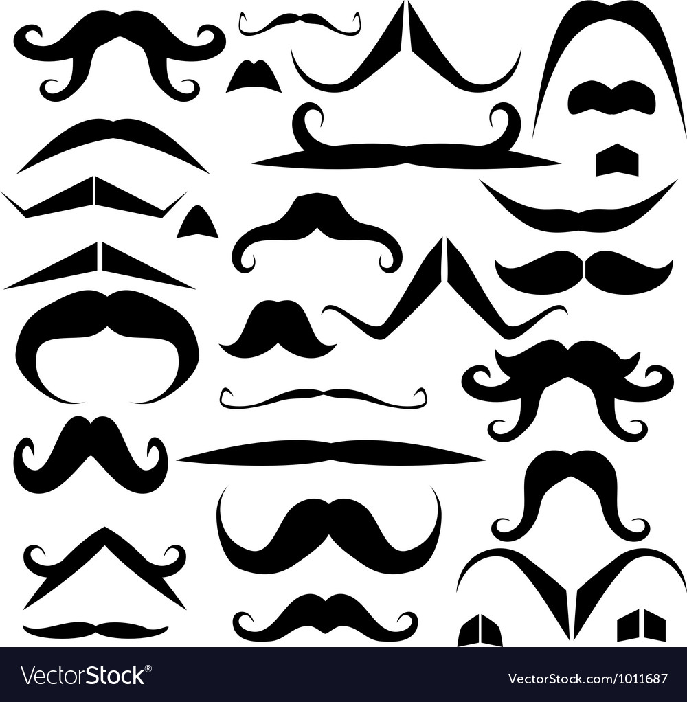 Set of mustaches for fun vector