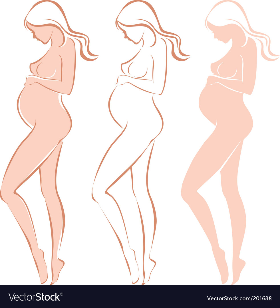 Pregnant female silhouette vector