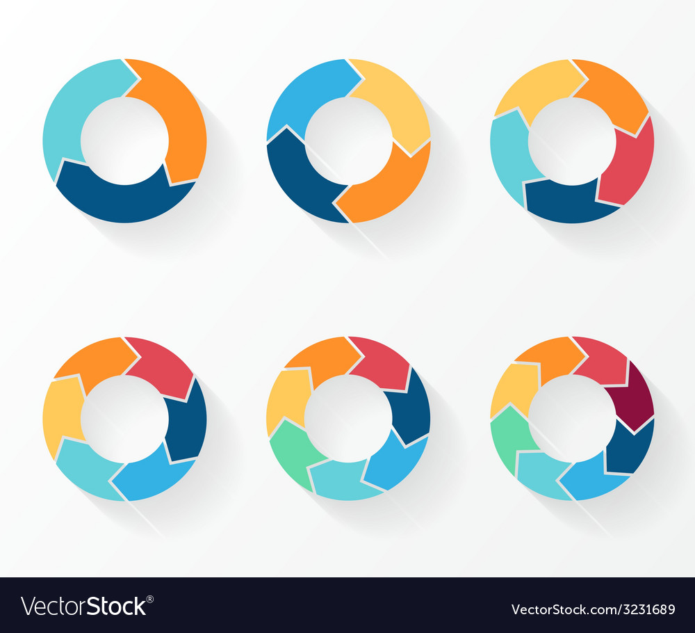 3 4 5 6 7 8 circle arrows for infographic diagram vector
