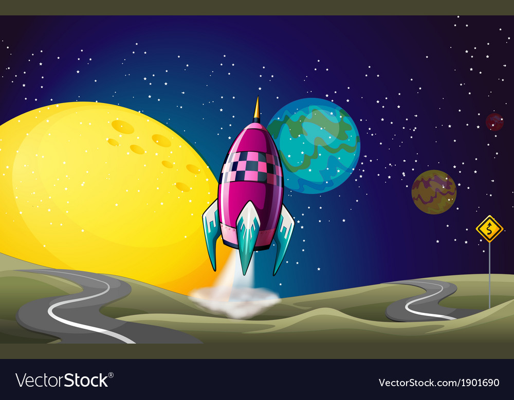 A spaceship in the outerspace near the moon vector