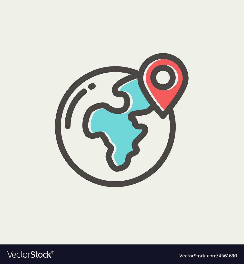 Global with locator thin line icon vector