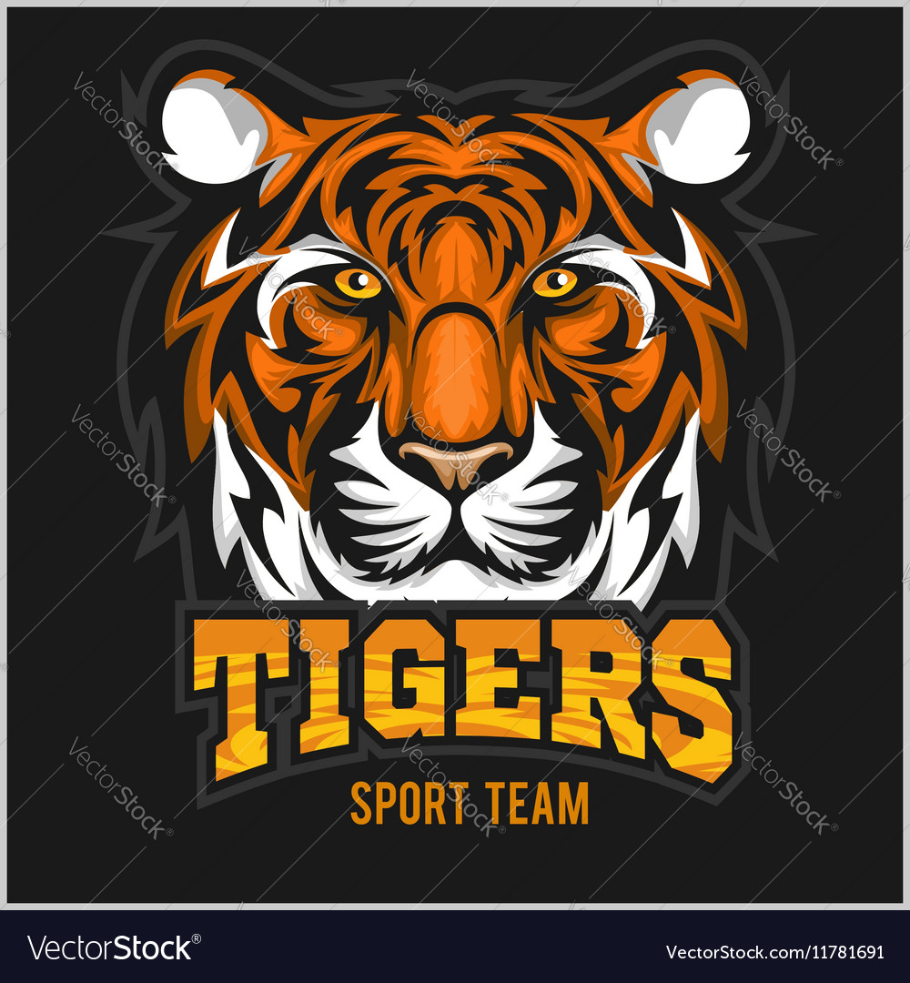 Angry tiger face sport emblem vector