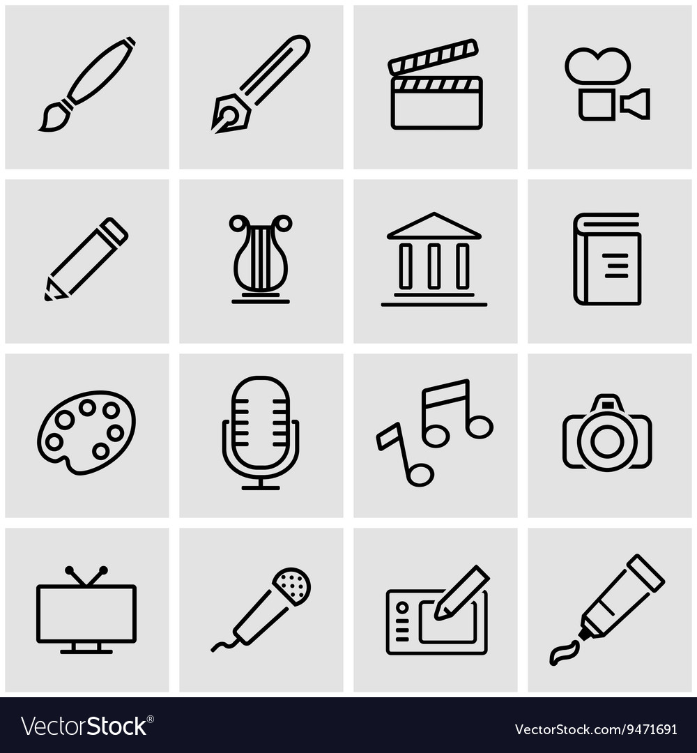 Line art icon set vector
