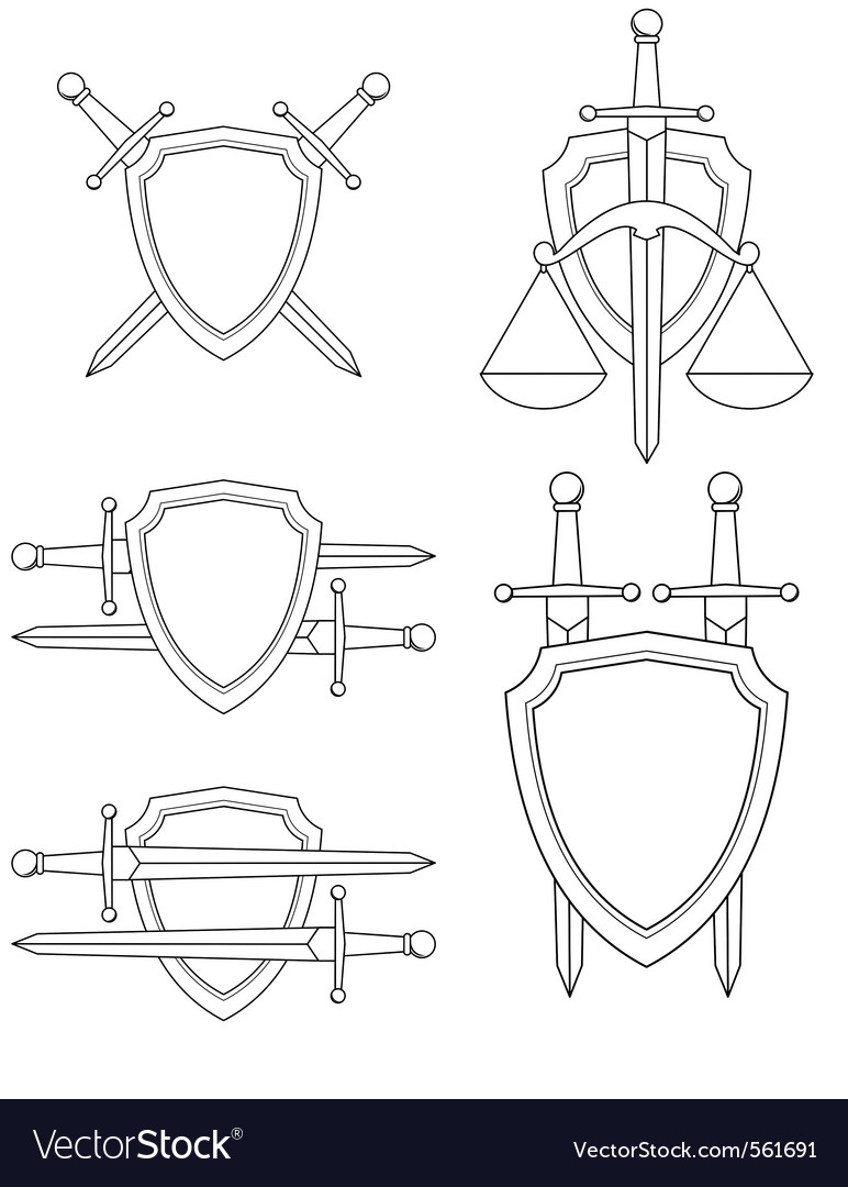 Shield sword vector