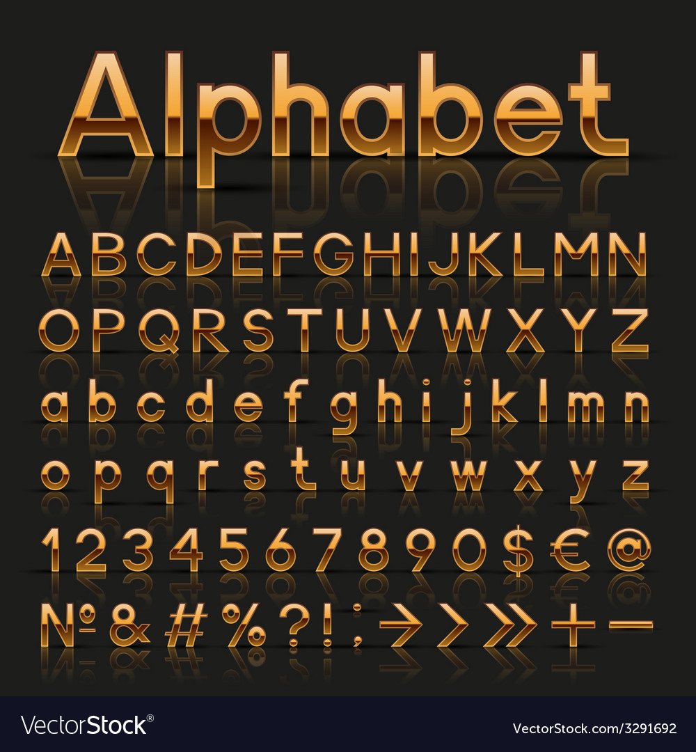 Decorative golden alphabet vector