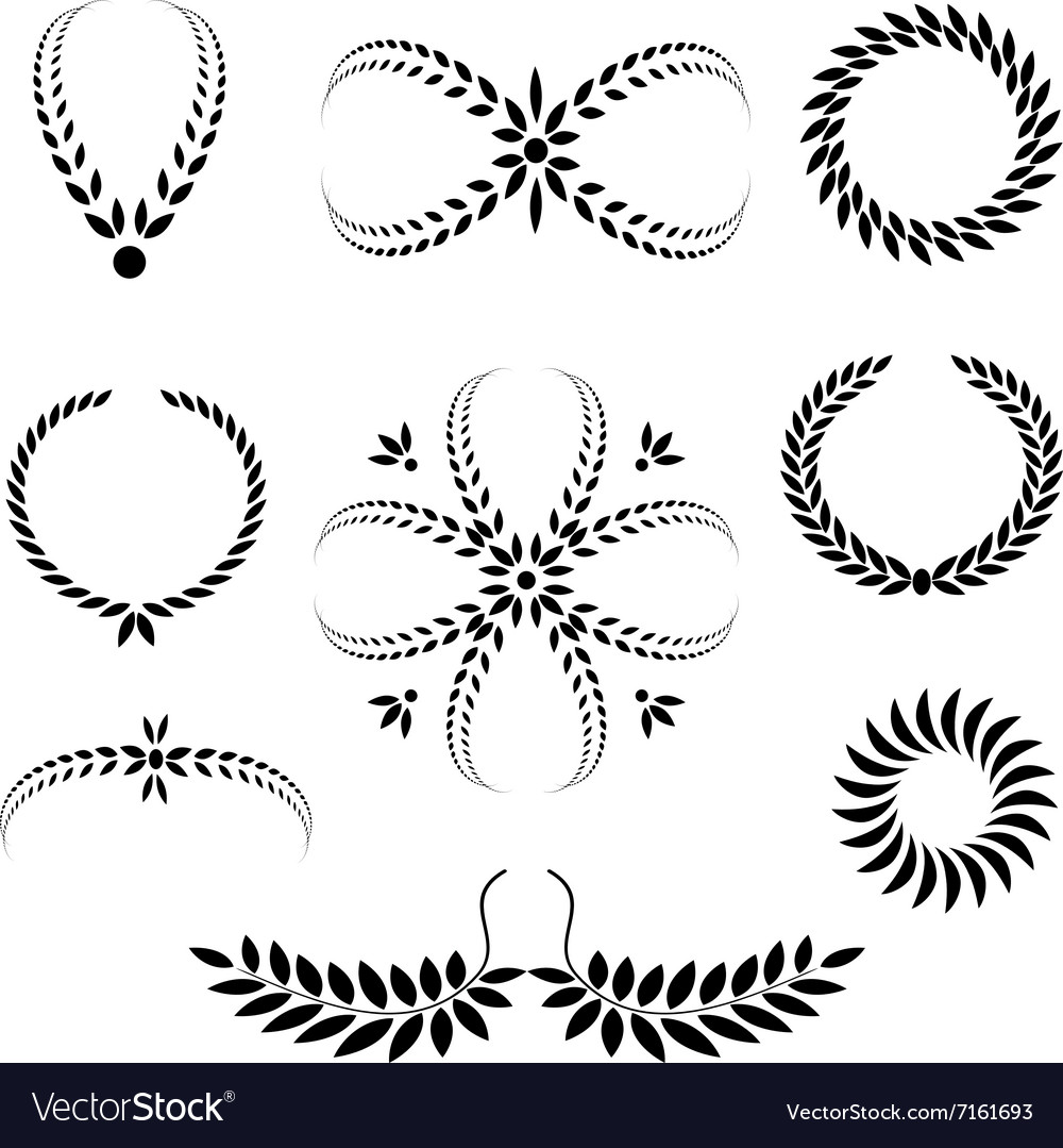 Laurel wreath tattoo set black stylized ornaments vector