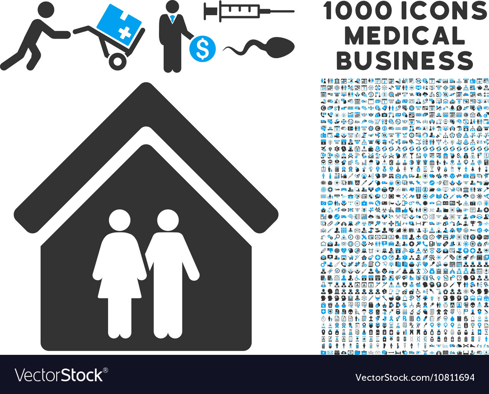 Family house icon with 1000 medical business vector