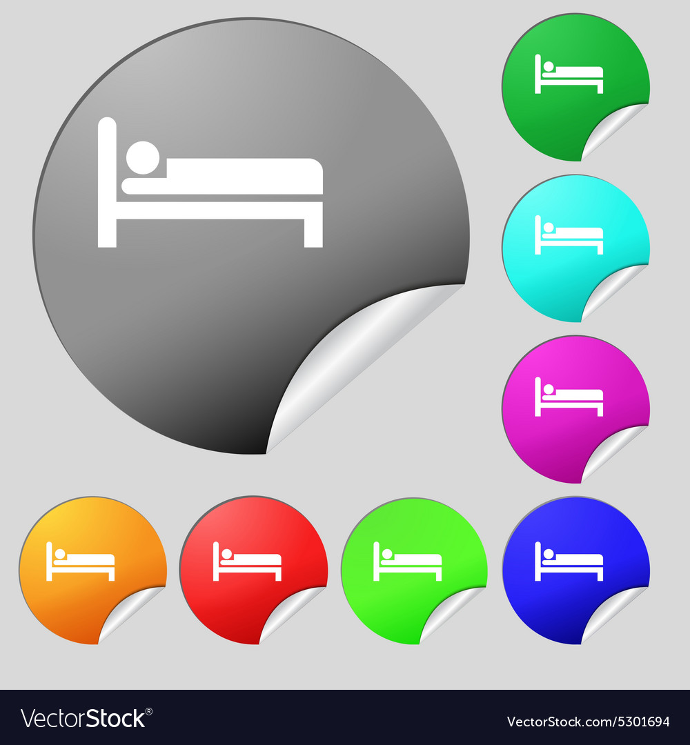 Hotel icon sign set of eight multi colored round vector