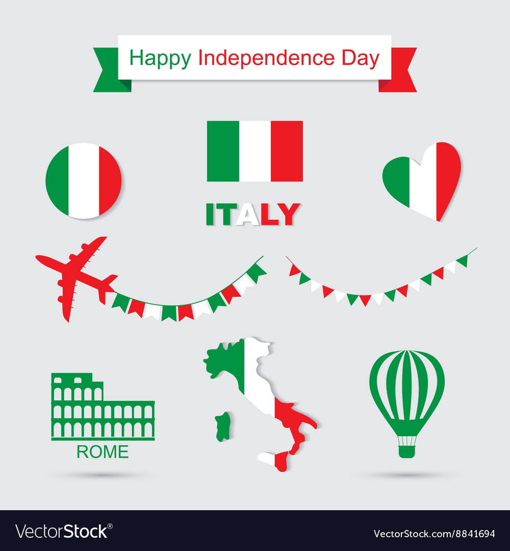 Italy flag banner and icon patterns set vector