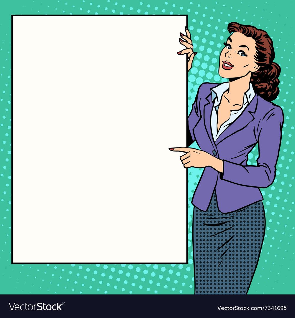 Poster businesswoman style your brand here vector