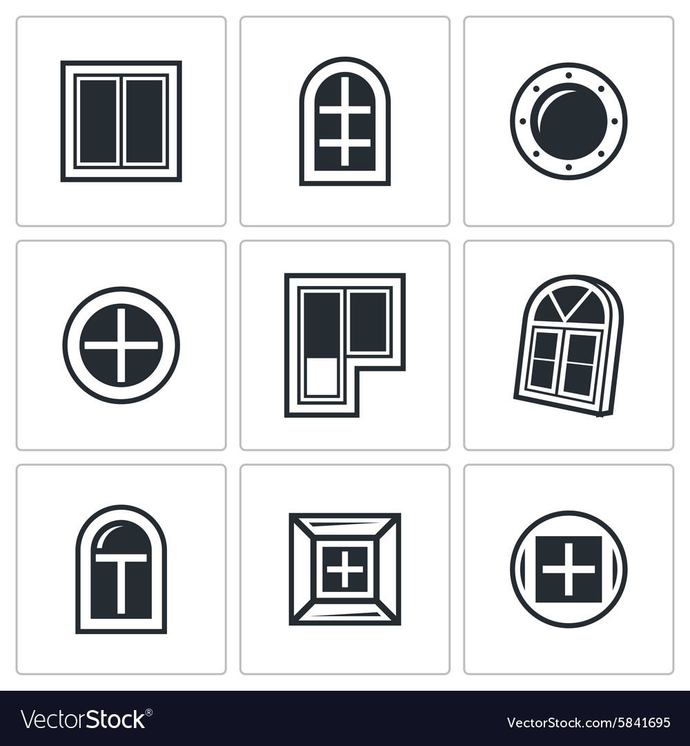 Various window icons set vector