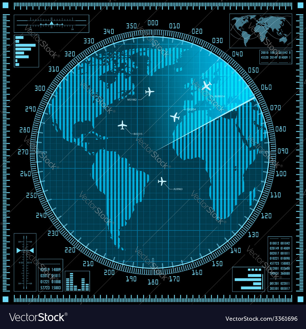 Blue radar screen with planes and world map vector