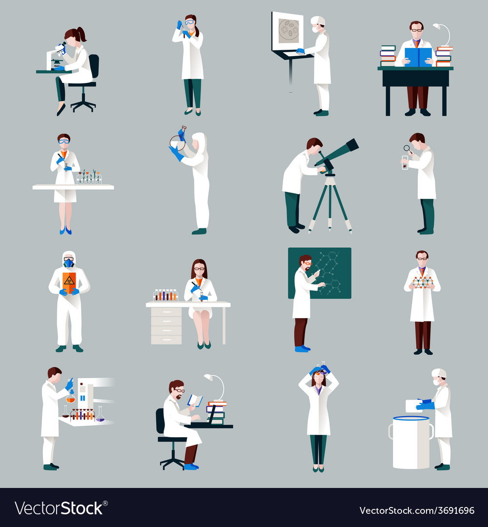 Scientists characters set vector