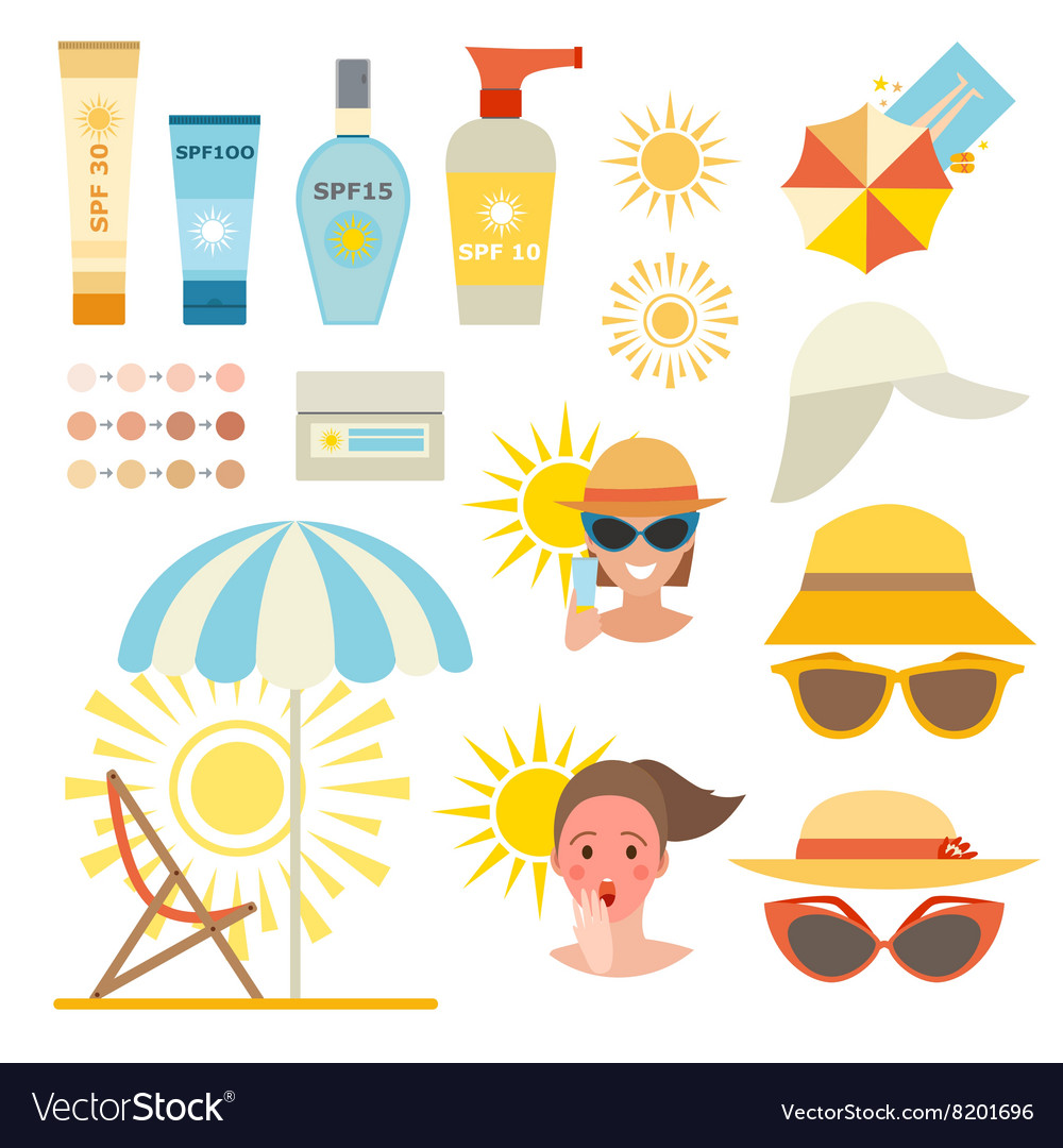 Skin sun protection cancer body prevention vector