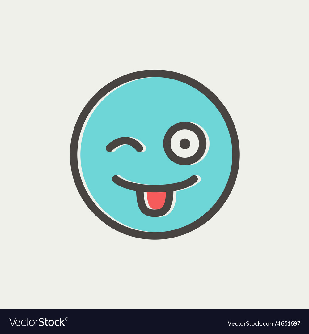 Happy winking emoticon with protruding tongue thin vector