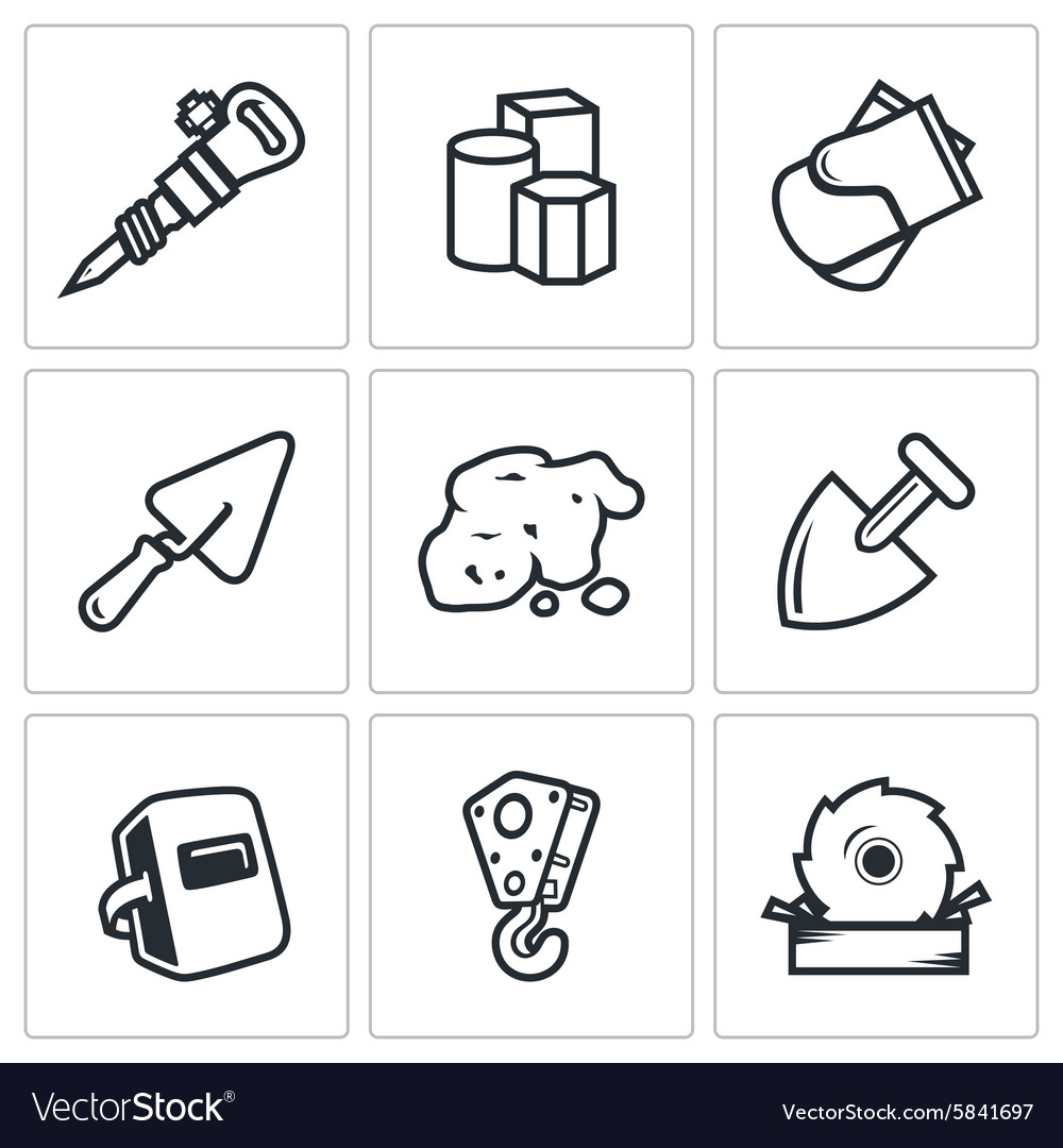 Hard work icons set vector
