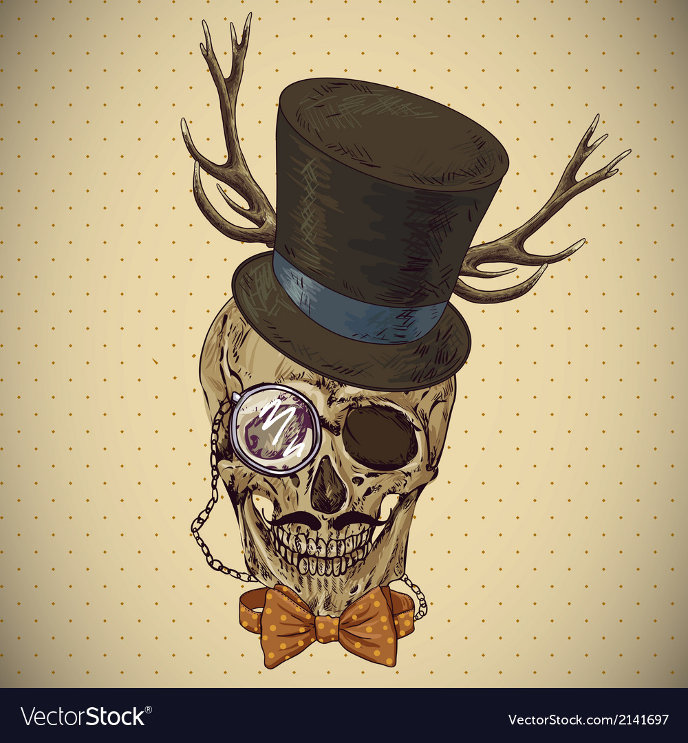 Hipster skull vintage background vector