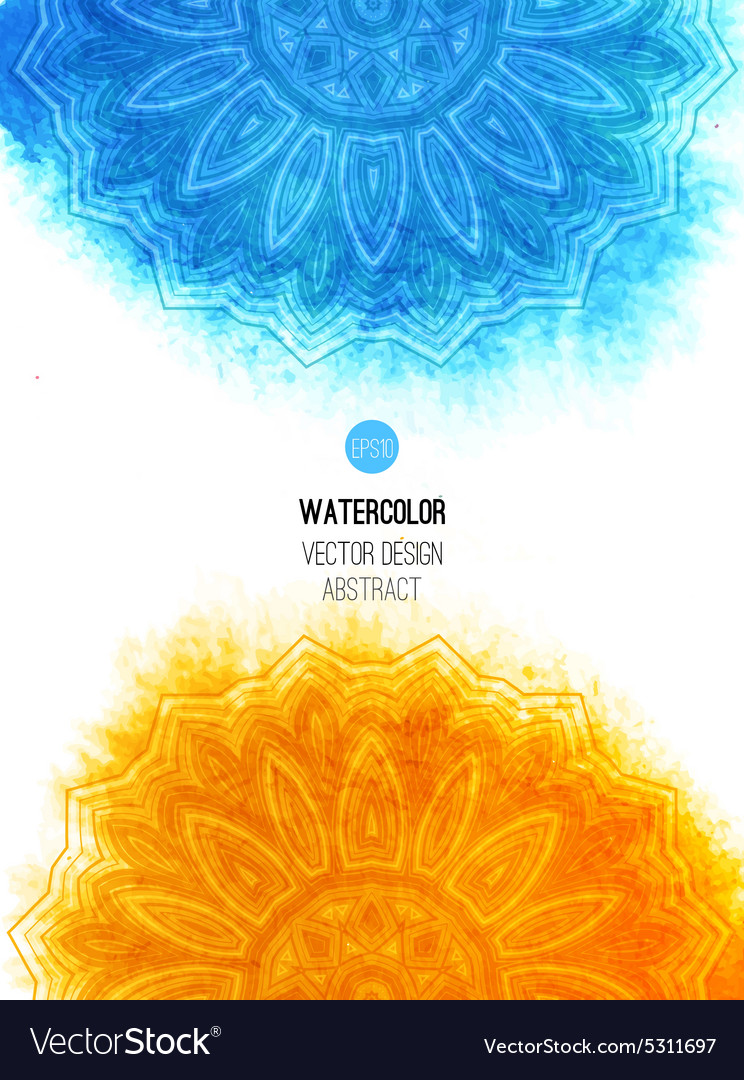 Orange watercolor brush wash with pattern  round vector
