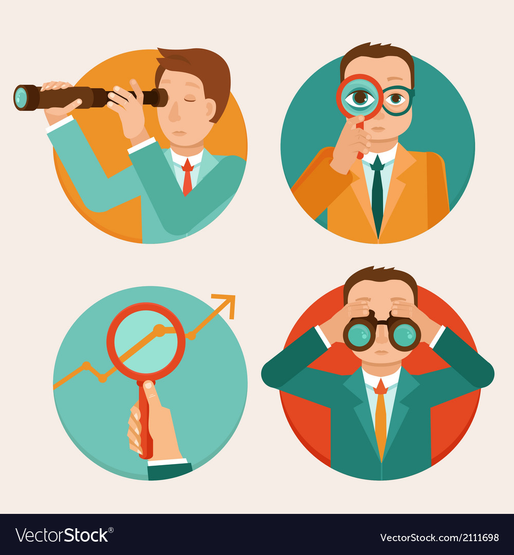 Businessmen looking for future trends vector
