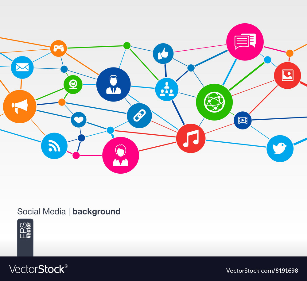 Social media network growth background with lines vector