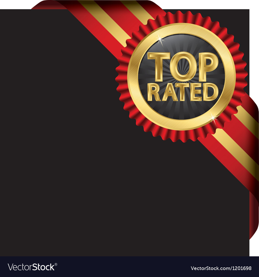 Top rated golden label with ribbons vector