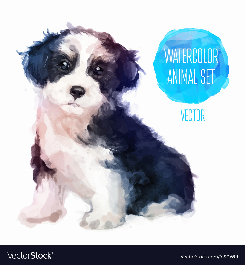 Dog hand painted watercolor vector