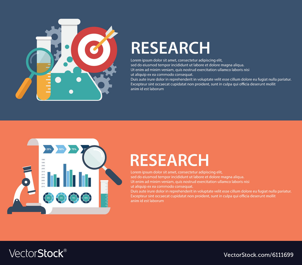 Flat style business research infographic concept vector
