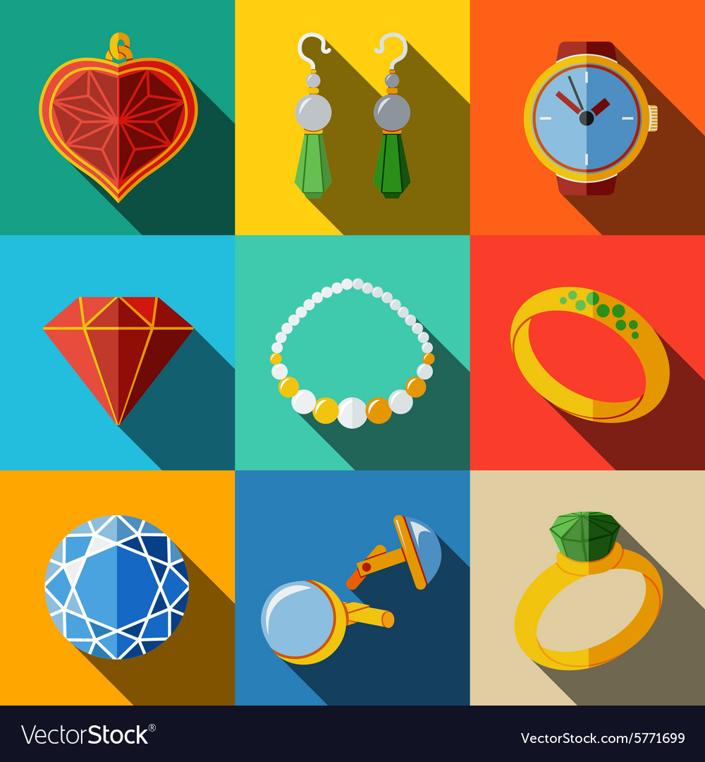 Jewelry colorful flat icons set with long shadow  vector