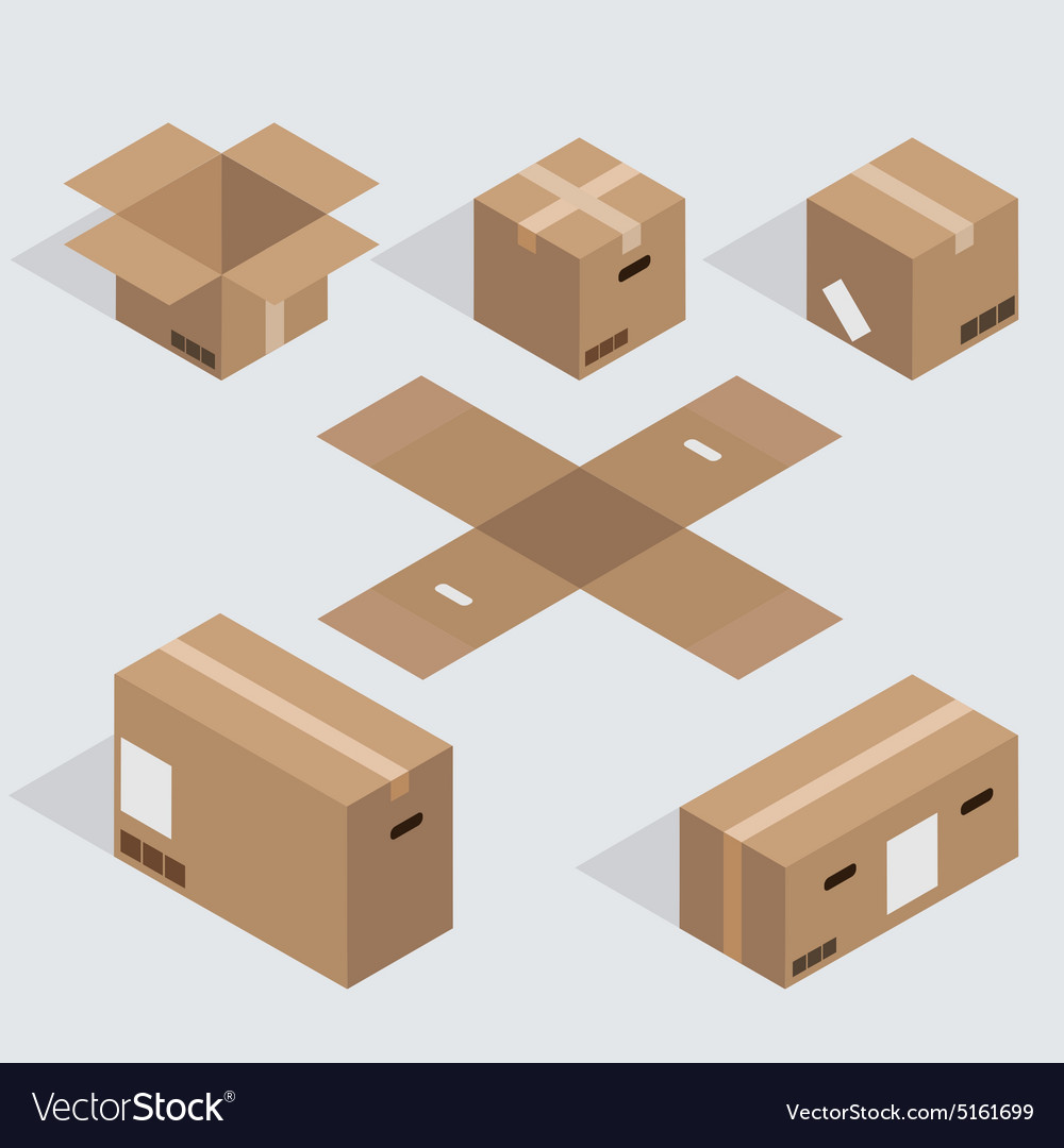 Modern isometric cardboard icons set vector