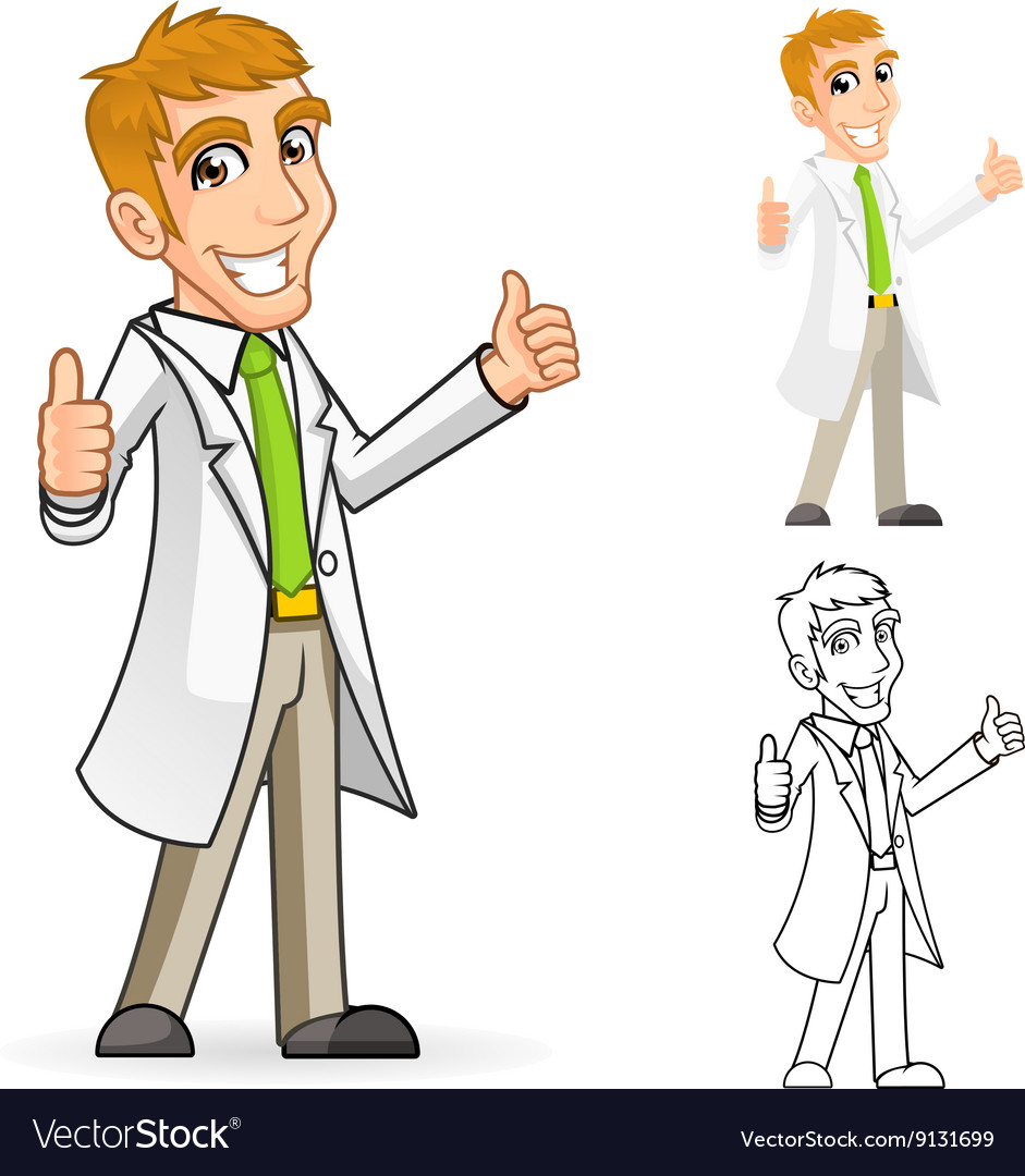 Scientist with thumbs up arms vector