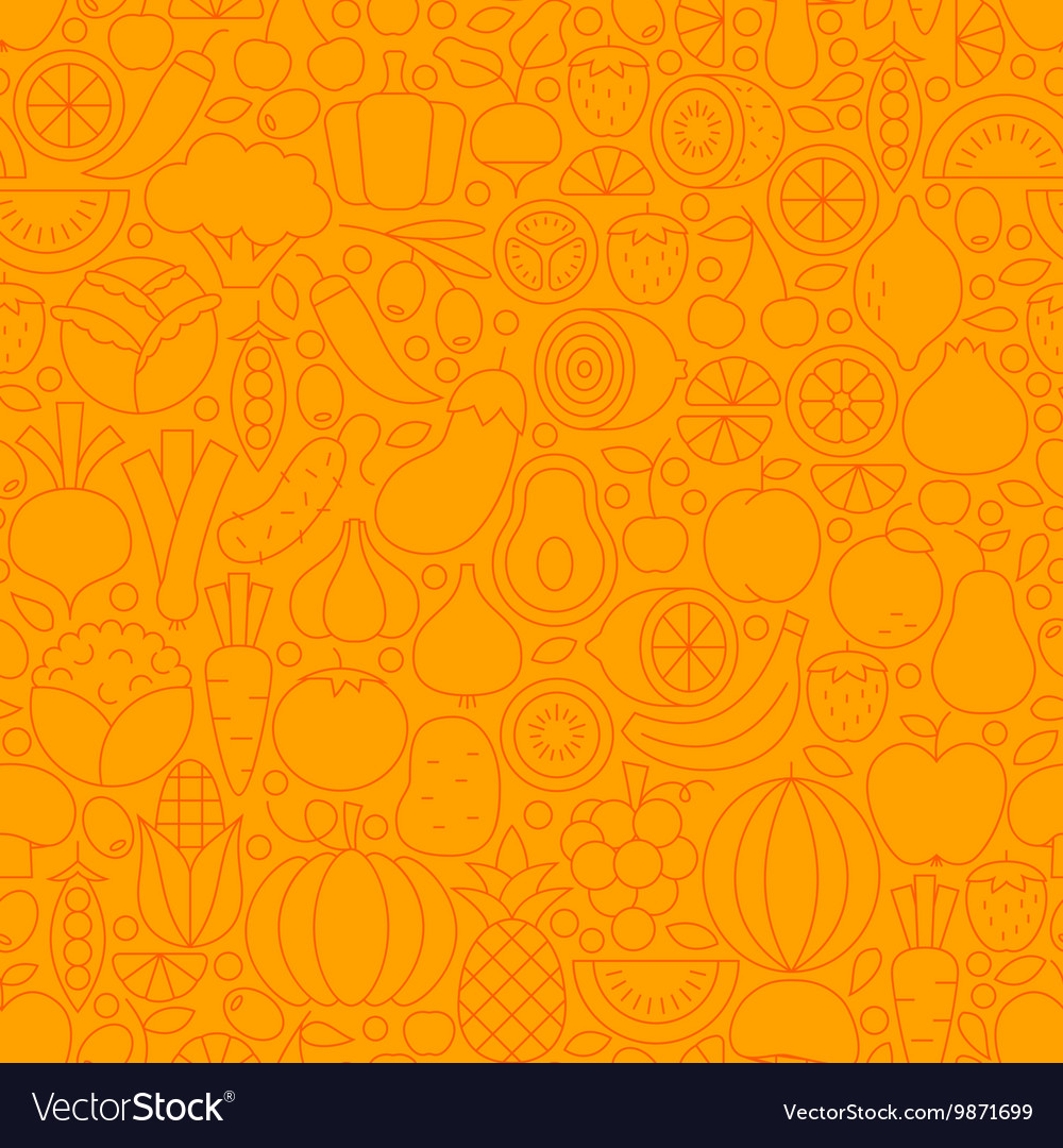 Thin orange vegetarian healthy food line seamless vector