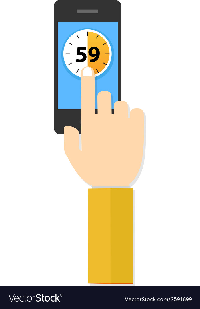 Time hand hold touch screen on mobile phone vector