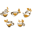 Cups of tea with brown leaves vector image vector image