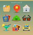 funny travel icons-set 5 vector image vector image