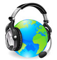 help desk headset world globe vector image vector image
