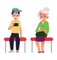 two antipode subway passengers - plump woman vector image