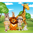 Children and wild animals in the park vector image